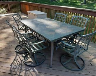 Heavy duty rectangular patio table and chairs