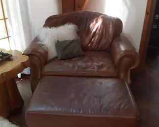 Leather chair with ottoman brown