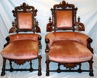 Jelliff Walnut Victorian Ladies & Gents Chairs