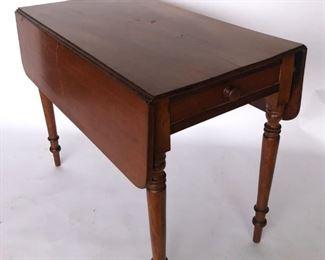 Period Walnut Drop Leaf Table With Drawer