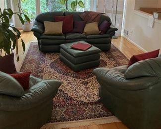green leather living room furniture