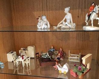 Fine Porcelain Figurines + Vintage Doll House Furniture