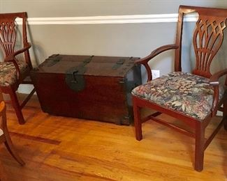 Dining chairs and Antique HEAVY Duty Steam trunk