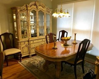 SUPER PREMIUM Quality French Country Provincial Complete Dining set. China Cabinet, Table & Chairs, & Buffet.
