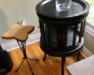 2 of 2 Glass Barrel Cabinet table