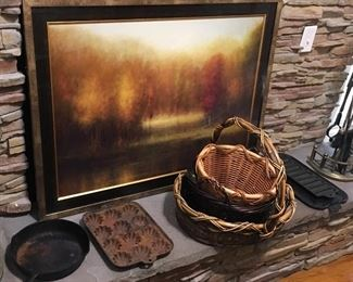Wall Print, & Antique/Vintage Cast Iron Kitchenware. Wagner, Griswold?