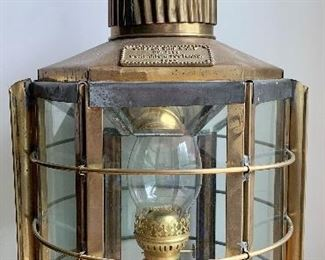Item 75:  Brass clipper ship lamp Dumbarton, Scotland, 1869:  $250