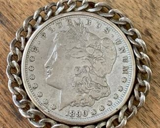 Item 152:  1890 Antique Morgan Dollar, Silver Coin Pendant:  $75
