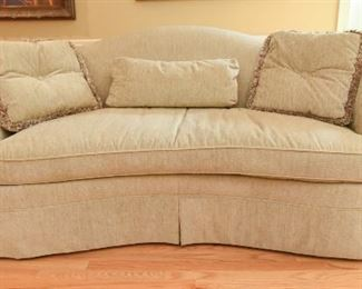 """Curved Sofa by Hickory Chair Co. $350 Beige upholstery in good condition. No stains, tears, damage, or fading. Deep seating, single cushion. 7'7"""" x 3'1"""" x 3'7"""""""