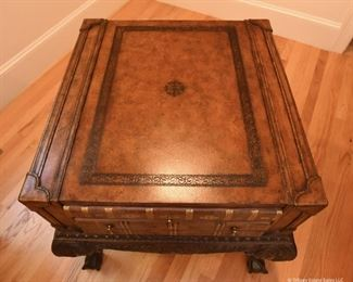 """Maitland-Smith Game/Storage Side Table  $525 Leather bound top on mahogany cabriole legs with ball and claw feet. Top drawer pulls out to reveal chess/checkers, and backgammon boards. Game pieces present. Excellent condition. 24.5"""" wide, 24"""" deep, 27.5"""" high"""