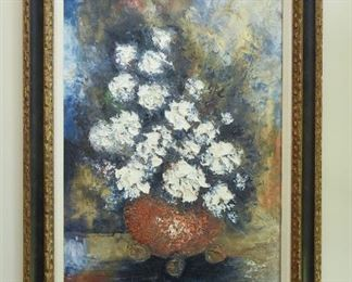 """Impressionist-style Painting   $145 White floral arrangement. Signed Ulysses Loi Noson 2'8"""" wide x 3'8"""" tall"""