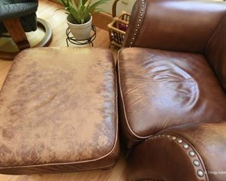 """Brown Leather Club Chair & Ottoman  $295 Very well loved, but still so comfortable. No other damage. The ottoman might do well with a DIY leather color restoration product. 3'7"""" wide x 3' tall x 3'3"""" deep"""