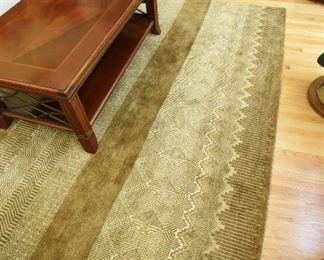 """Geometric Patterns Rug in Greens and Tans  $165 10' x 8'2"""""""