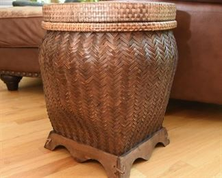 """Woven Wicker Basket with Lid  $35 18"""" tall, 16"""" wide"""