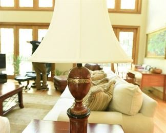 """Lamp in the Neoclassical Style  $55 Wood with gilt edges. 2'10"""" tall, 19"""" diameter shade"""