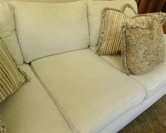 """Off-White Sofa  $150 Some wear. Back edge needs to be cleaned or put against a wall. See pictures. 8'2"""" x 3' x 3'8"""""""