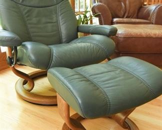 Ekornes Stressless Chair & Foot Rest  $675 Forrest green leather upholstery. Size Large. Chair includes swivel base. Excellent condition.