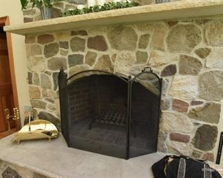 """Fireplace screen, tools and brass kindling holder $85   Screen dimensions, 4'5"""" x 2'11"""""""