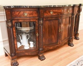 Henredon Natchez Marble-Top Sideboard  $825 Absolutely breathtaking book matched flame mahogany, with string black marble top. Glass doors on end cabinets to feature some of your favorite pieces. Excellent condition. 77ʺW × 23.5ʺD × 38.5ʺH