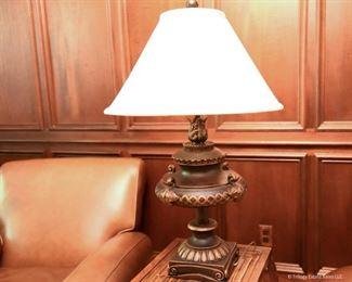 "Metal Urn Lamp with Flame  $55 2'8"" tall, 16"" shade diameter"