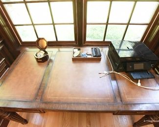 """Ethan Allen Edwardian Hastings Desk  $425 Top has three inset leather panels with embossed gilt edges. Excellent condition. 64""""w x 30.25""""h x 32.5""""d"""