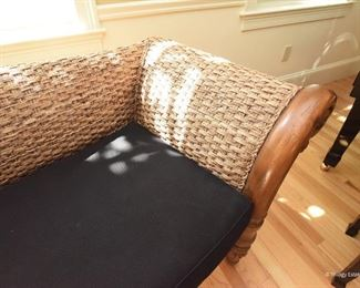 """Woven Grass Lounger with Carved Wood Arms $395 Black cushion. Incredibly inviting in person. Excellent condition. 7' long x 2'11"""" tall  x 2'6"""" deep"""