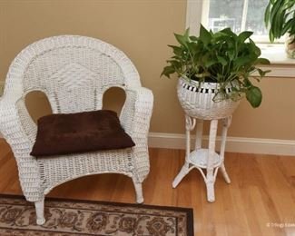 "Pair wicker chairs  $175 2'6"" x 2'9"" x 2'2"" each Wicker plant stand (plant included)  $75"
