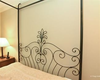 """Iron Canopy-top Queen Bed  $450 Mattress and Boxspring can be included. 5'3"""" wide, 7'8"""" tall, 7'1"""" long"""