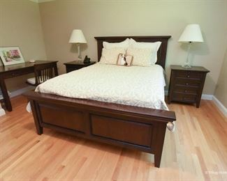 """Pottery Barn Hudson Queen Bed  $325 The bed is very good condition with the exception of some peeling varnish on the left inset panel on the headboard. Mattress and boxspring included if wanted.  Overall: 82.5"""" wide x 92"""" long x 54.5"""" high Mattress Platform: 73"""" wide x 84"""" long Headboard: 82.5"""" wide x 5"""" deep x 54.5"""" high Footboard: 82.5"""" wide x 5"""" deep x 26"""" high Side rail to floor clearance: 6"""" Distance between legs: 73"""" side to side, 84"""" front to back"""