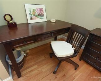 """Pottery Barn Hudson Desk and Chair  $225 Desk is 5' wide, 2.7"""" tall, 2'6"""" deep."""