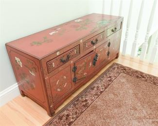 """Painted Chinese Low Chest  $245 3'7"""" wide x 1'7"""" tall x 1'3"""" deep"""