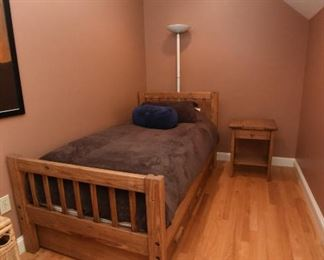 Who remembers Cargo furniture? This twin can be used as a stand-alone bed. The drawer underneath can house a mattress to become a trundle bed or storage for toys. The second twin bed, without the drawer can be the top bunk. $100