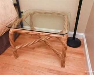 Twisted rattan square side table with glass top  $85