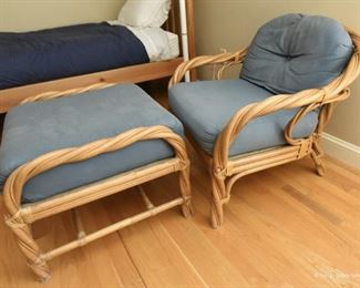 Twisted Rattan Chair with Ottoman  $125