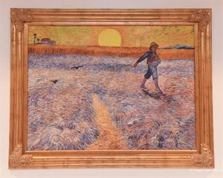"""Copy/Reproduction of Van Gogh's """"The Sower""""  $250 This is a painting on canvas painted by a copycat artist. 4' wide, 3'2"""" tall"""