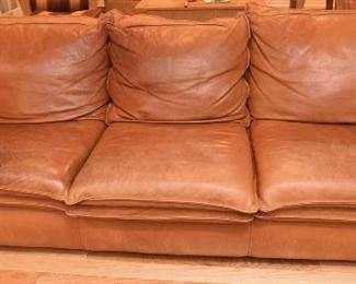 """Sink into it Leather Couch  $295 7'11"""" x 2'7"""" tall x 3'1"""" deep"""