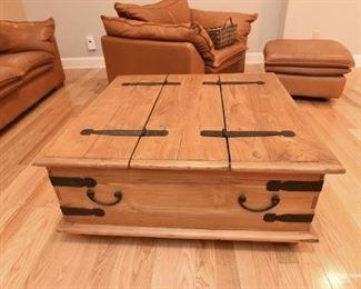 "Rustic-look Storage Coffee Table  $85 3'3"" x 3'3"" x 1'4"" tall"