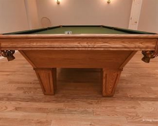 """Brunswick Billiards Table - accepting offers. It's in excellent condition, large billiards size. Leather pockets. Includes balls and cues. 9'2"""" long  x 2'8"""" tall x 5' wide"""