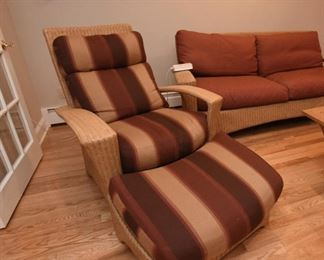 Wicker Chair with Ottoman  $145 For indoor, or covered porch use.