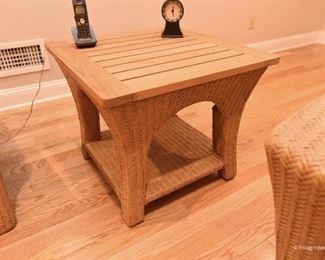 Wood-top wicker side table $75