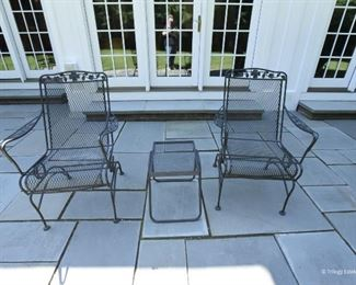 Pair iron chairs with side table  $95