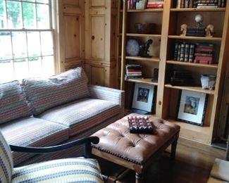 Gorgeous sofa, leather ottoman, stunning chair