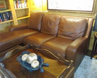 Crate & Barrel leather sofa, Tray top coffee table