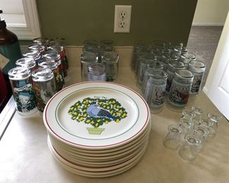 Days of Christmas Plates & Glasses and  Kentucky Derby glasses too !