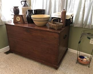 Amazing & Huge Blanket Chest!  Crocks/Jugs/Bowls !