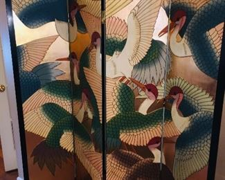 two sided enameled four panel screen