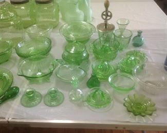 Very large collection of green depression glass.