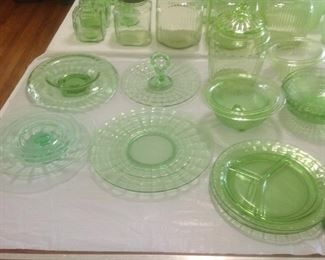 Platters and bowls of depression glass