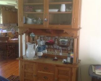 "Gorgeous antique China cabinet/mirrored buffet. Measures 49"" wide x 88"" high x 17"" deep.  Presale for $225"