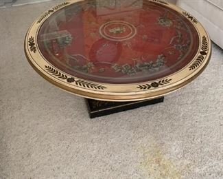 Neoclassical style round coffee table (glass top).
